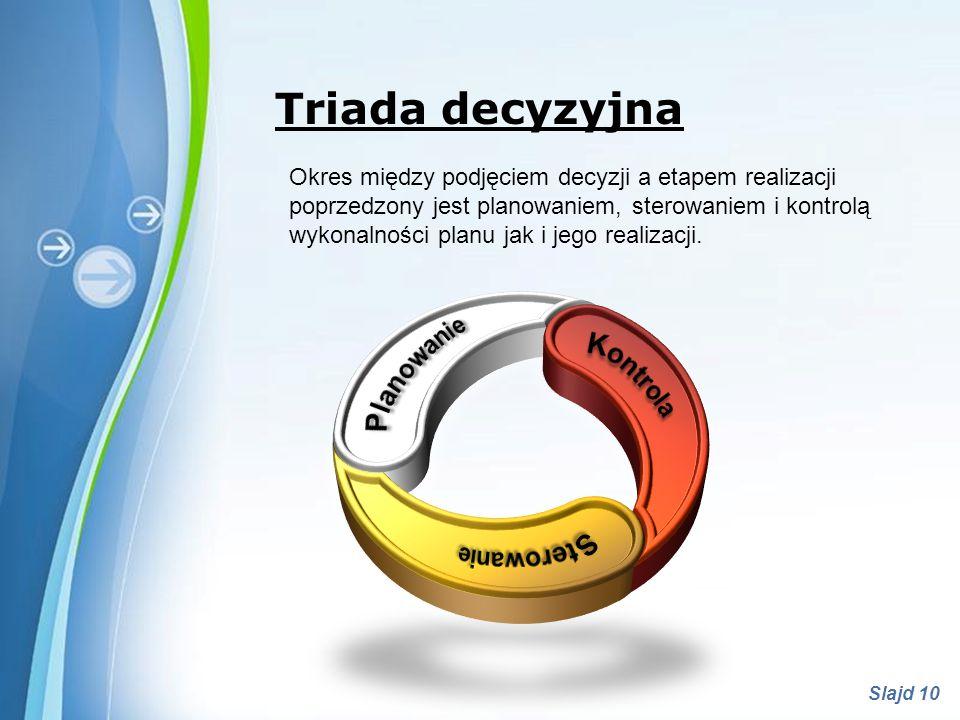 Powerpoint Templates Slajd 10 Triada decyzyjna Okres między podjęciem decyzji a etapem realizacji poprzedzony jest planowaniem, sterowaniem i kontrolą