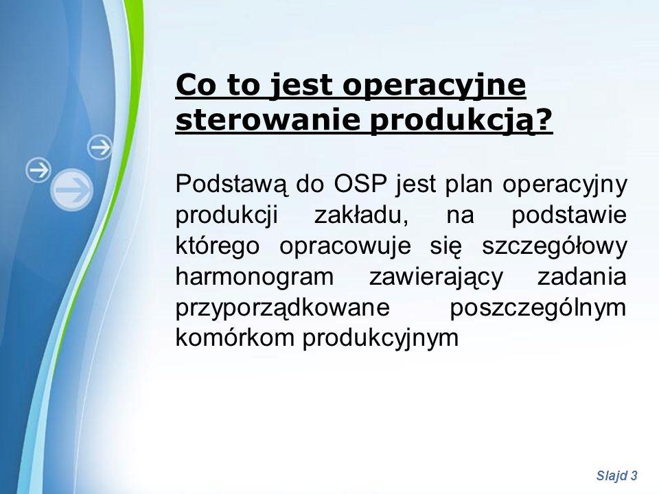 Powerpoint Templates Slajd 3 Co to jest operacyjne sterowanie produkcją? Podstawą do OSP jest plan operacyjny produkcji zakładu, na podstawie którego