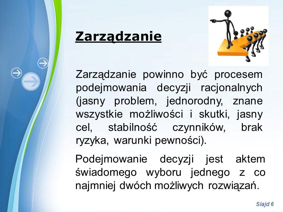 Powerpoint Templates Slajd 6 Zarządzanie Zarządzanie powinno być procesem podejmowania decyzji racjonalnych (jasny problem, jednorodny, znane wszystki