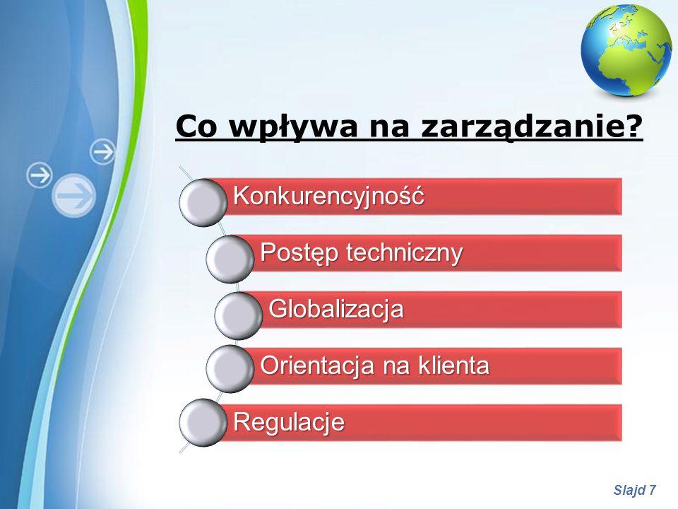 Powerpoint Templates Slajd 7 Co wpływa na zarządzanie?Konkurencyjność Postęp techniczny Globalizacja Orientacja na klienta Regulacje