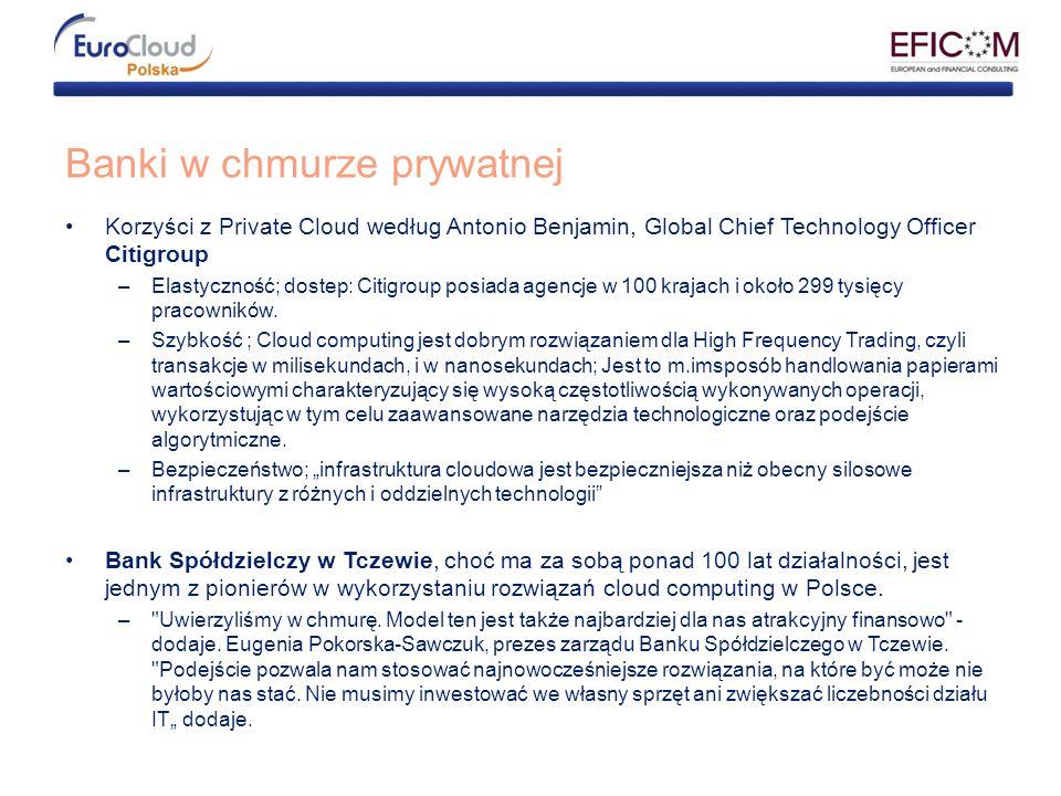 Banki w chmurze prywatnej Korzyści z Private Cloud według Antonio Benjamin, Global Chief Technology Officer Citigroup –Elastyczność; dostep: Citigroup