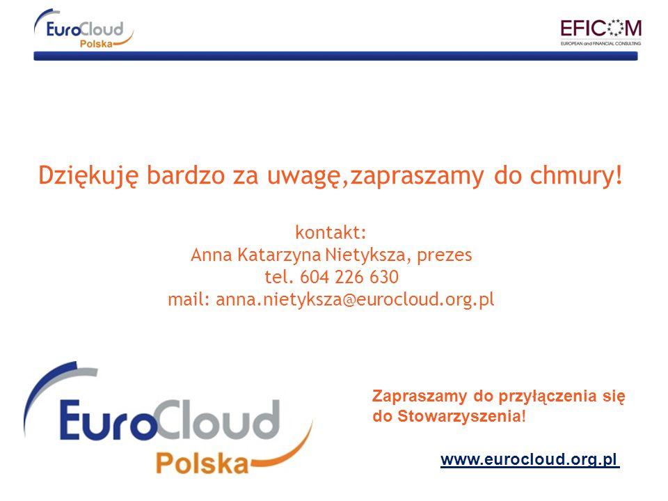 Dziękuję bardzo za uwagę,zapraszamy do chmury! kontakt: Anna Katarzyna Nietyksza, prezes tel. 604 226 630 mail: anna.nietyksza@eurocloud.org.pl www.eu