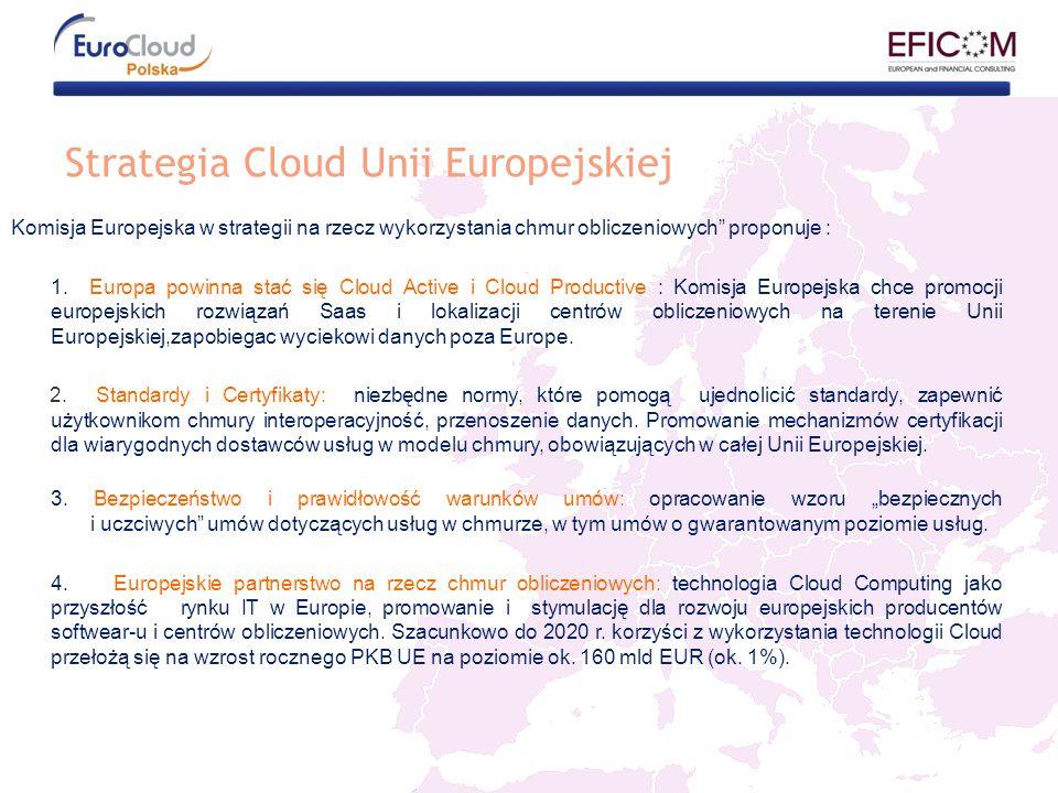 Strategia Cloud Unii Europejskiej Komisja Europejska w strategii na rzecz wykorzystania chmur obliczeniowych proponuje : 1.