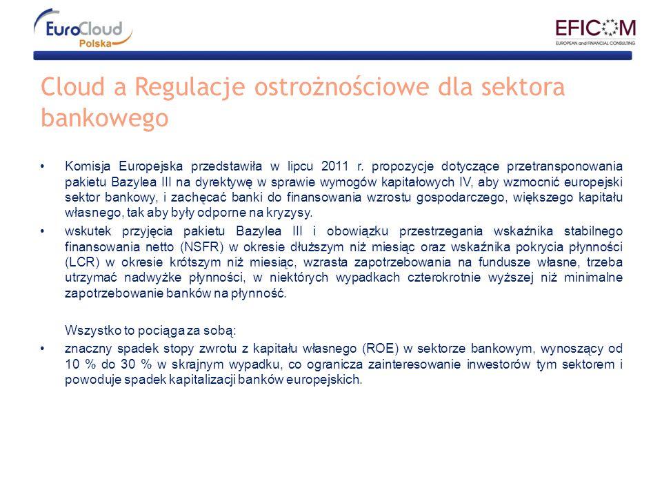 Cloud a Regulacje ostrożnościowe dla sektora bankowego Komisja Europejska przedstawiła w lipcu 2011 r. propozycje dotyczące przetransponowania pakietu