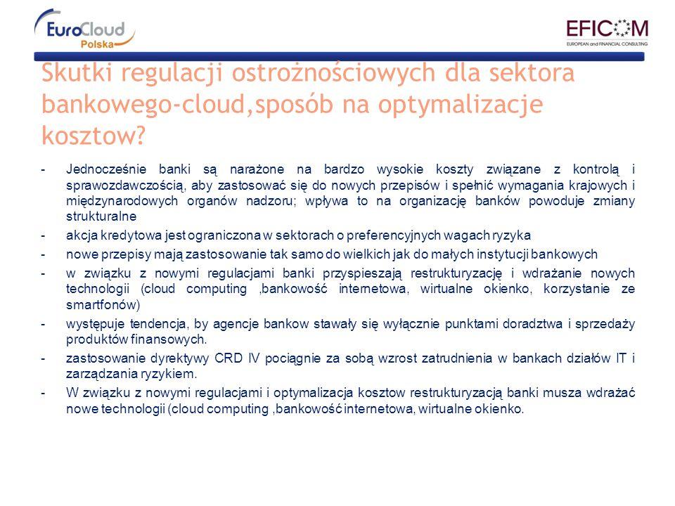 Skutki regulacji ostrożnościowych dla sektora bankowego-cloud,sposób na optymalizacje kosztow? -Jednocześnie banki są narażone na bardzo wysokie koszt