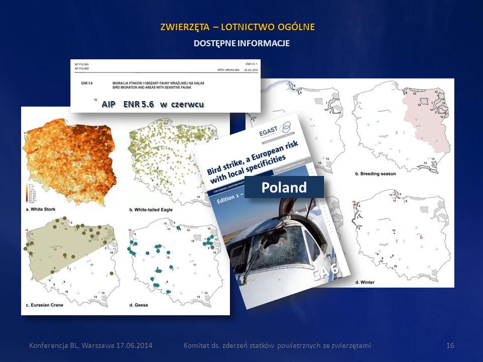 Komitet ds. zderzeń statków powietrznych ze zwierzętami16Konferencja BL, Warszawa 17.06.2014 DOSTĘPNE INFORMACJE ZWIERZĘTA – LOTNICTWO OGÓLNE AIP ENR