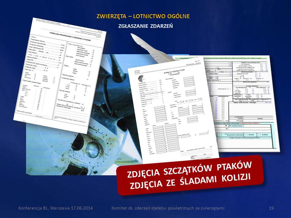 Komitet ds. zderzeń statków powietrznych ze zwierzętami19Konferencja BL, Warszawa 17.06.2014 ZGŁASZANIE ZDARZEŃ ZWIERZĘTA – LOTNICTWO OGÓLNE ZDJĘCIA S