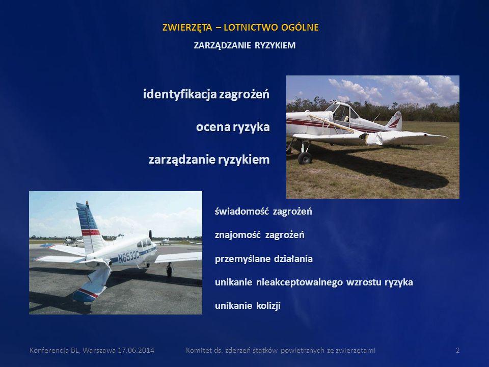 Komitet ds. zderzeń statków powietrznych ze zwierzętami2Konferencja BL, Warszawa 17.06.2014 świadomość zagrożeń znajomość zagrożeń przemyślane działan