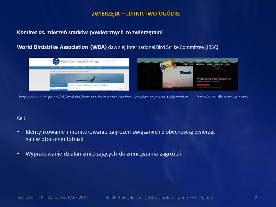 Komitet ds. zderzeń statków powietrznych ze zwierzętami22Konferencja BL, Warszawa 17.06.2014 Komitet ds. zderzeń statków powietrznych ze zwierzętami W