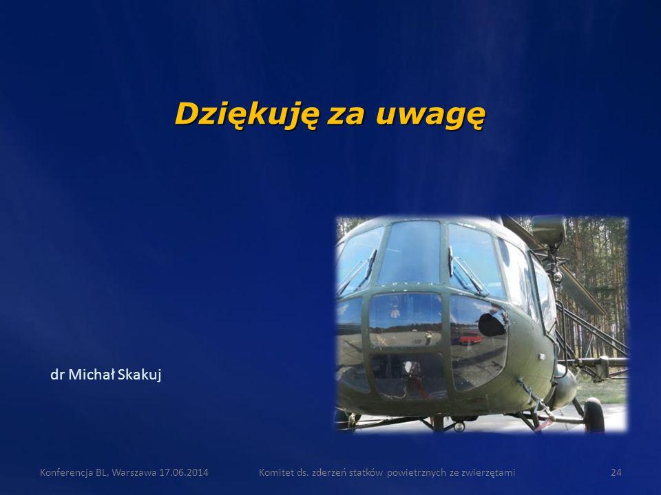 dr Michał Skakuj Dziękuję za uwagę Komitet ds. zderzeń statków powietrznych ze zwierzętami24Konferencja BL, Warszawa 17.06.2014