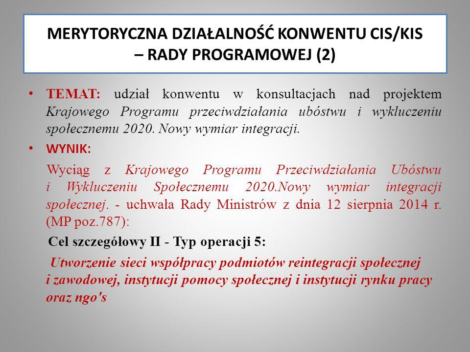 MERYTORYCZNA DZIAŁALNOŚĆ KONWENTU CIS/KIS – RADY PROGRAMOWEJ (2) TEMAT: udział konwentu w konsultacjach nad projektem Krajowego Programu przeciwdziałania ubóstwu i wykluczeniu społecznemu 2020.