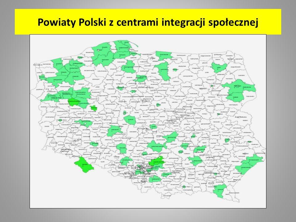 Powiaty Polski z centrami integracji społecznej