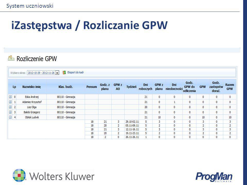 iZastępstwa / Rozliczanie GPW System uczniowski
