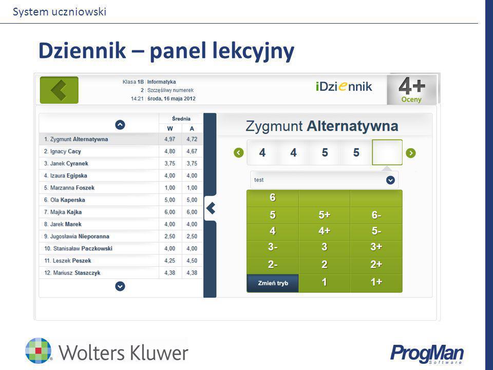 Dziennik – panel lekcyjny System uczniowski