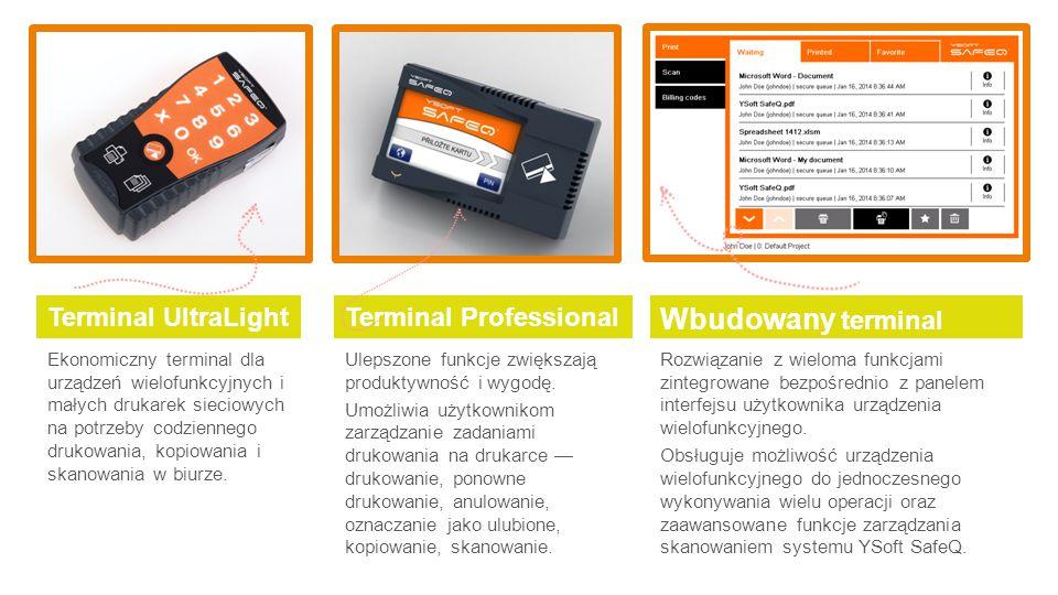 Ekonomiczny terminal dla urządzeń wielofunkcyjnych i małych drukarek sieciowych na potrzeby codziennego drukowania, kopiowania i skanowania w biurze.