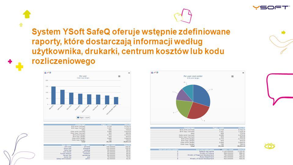 System YSoft SafeQ oferuje wstępnie zdefiniowane raporty, które dostarczają informacji według użytkownika, drukarki, centrum kosztów lub kodu rozliczeniowego