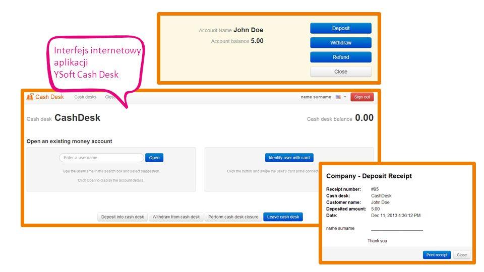 Interfejs internetowy aplikacji YSoft Cash Desk