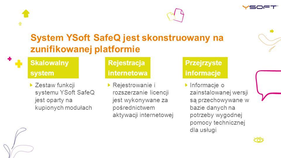 System YSoft SafeQ jest skonstruowany na zunifikowanej platformie Rejestracja internetowa Przejrzyste informacje Zestaw funkcji systemu YSoft SafeQ jest oparty na kupionych modułach Rejestrowanie i rozszerzanie licencji jest wykonywane za pośrednictwem aktywacji internetowej Informacje o zainstalowanej wersji są przechowywane w bazie danych na potrzeby wygodnej pomocy technicznej dla usługi Skalowalny system