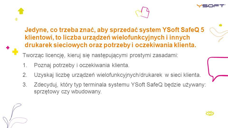 Jedyne, co trzeba znać, aby sprzedać system YSoft SafeQ 5 klientowi, to liczba urządzeń wielofunkcyjnych i innych drukarek sieciowych oraz potrzeby i
