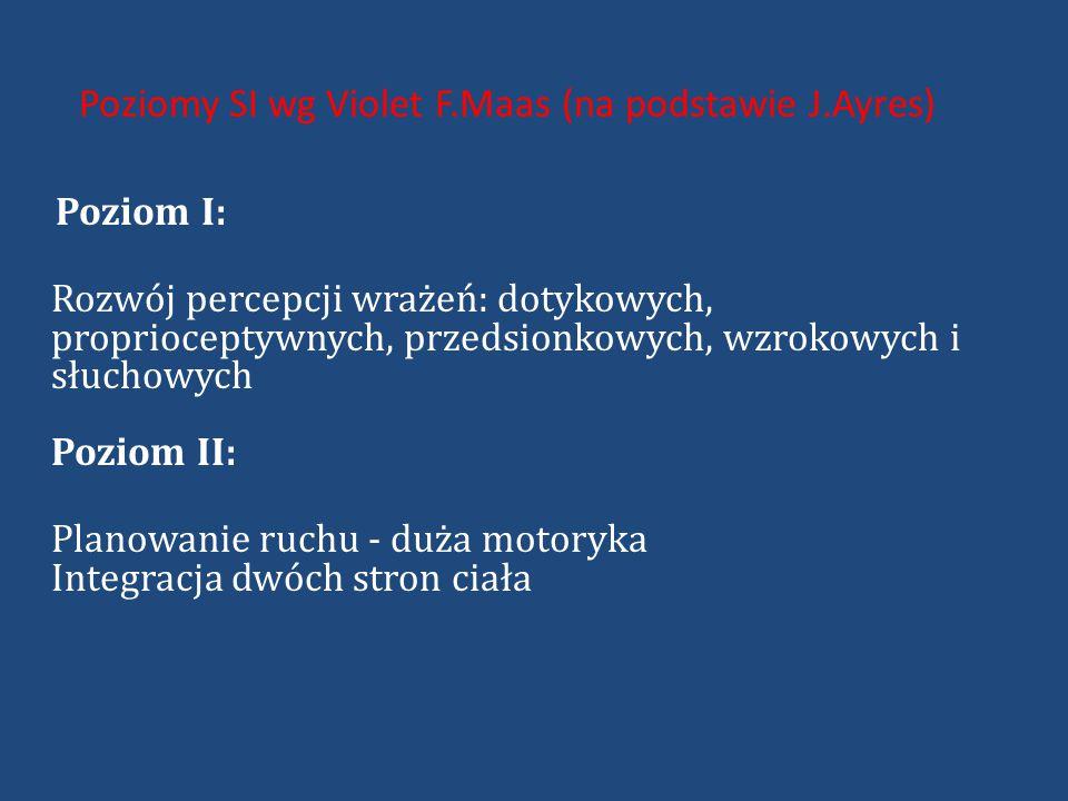 Poziomy SI wg Violet F.Maas (na podstawie J.Ayres) Poziom I: Rozwój percepcji wrażeń: dotykowych, proprioceptywnych, przedsionkowych, wzrokowych i słuchowych Poziom II: Planowanie ruchu - duża motoryka Integracja dwóch stron ciała
