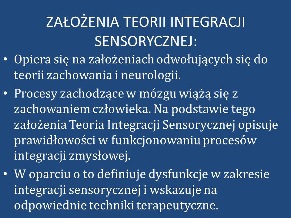 ZAŁOŻENIA TEORII INTEGRACJI SENSORYCZNEJ: Opiera się na założeniach odwołujących się do teorii zachowania i neurologii.
