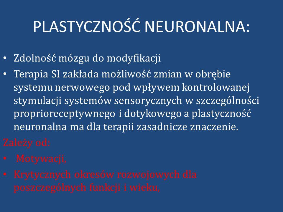 PLASTYCZNOŚĆ NEURONALNA: Zdolność mózgu do modyfikacji Terapia SI zakłada możliwość zmian w obrębie systemu nerwowego pod wpływem kontrolowanej stymulacji systemów sensorycznych w szczególności proprioreceptywnego i dotykowego a plastyczność neuronalna ma dla terapii zasadnicze znaczenie.