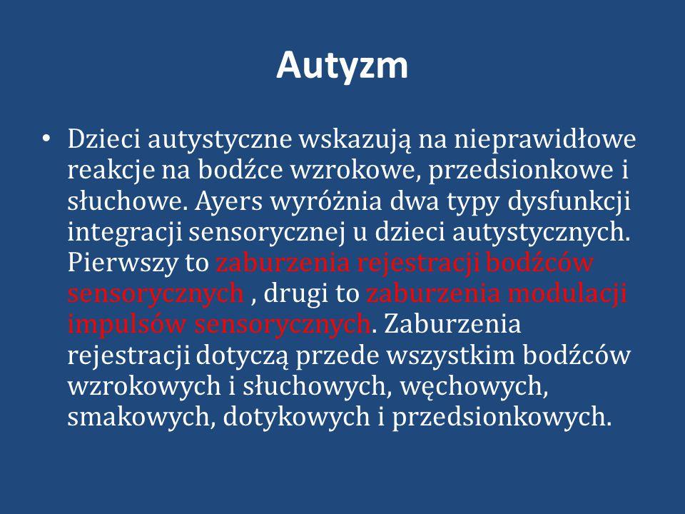 Autyzm Dzieci autystyczne wskazują na nieprawidłowe reakcje na bodźce wzrokowe, przedsionkowe i słuchowe.