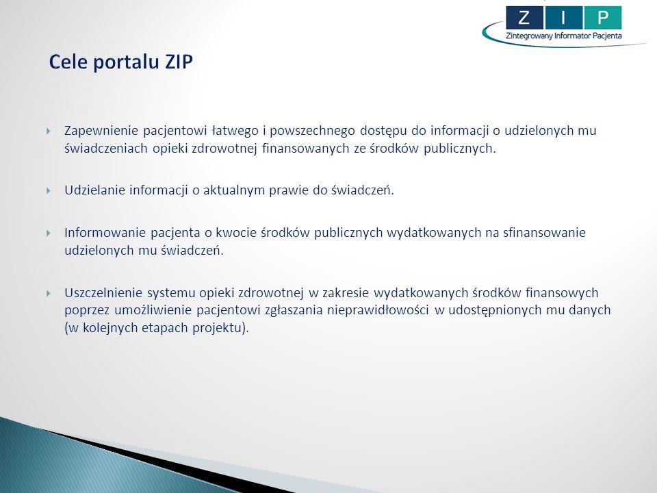 ZIP to również … Moduł ustawień systemowych W tym module realizowane są funkcje logowania, zmiany hasła, zmiany adresu e- mail, wyrażana zgody na przetwarzanie danych w ZIP, prezentowana będzie historia logowania.