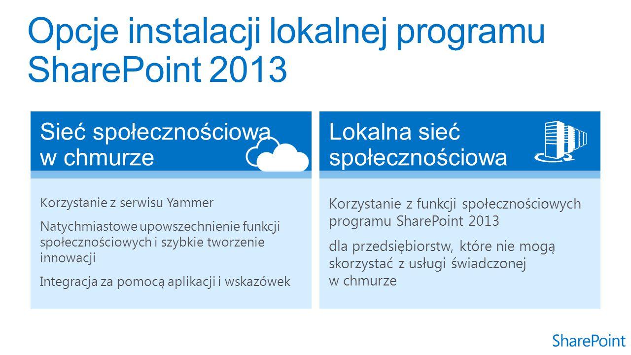 Korzystanie z serwisu Yammer Natychmiastowe upowszechnienie funkcji społecznościowych i szybkie tworzenie innowacji Integracja za pomocą aplikacji i wskazówek Korzystanie z funkcji społecznościowych programu SharePoint 2013 dla przedsiębiorstw, które nie mogą skorzystać z usługi świadczonej w chmurze