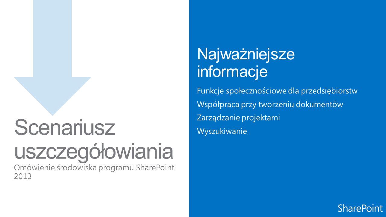 Scenariusz uszczegółowiania Omówienie środowiska programu SharePoint 2013