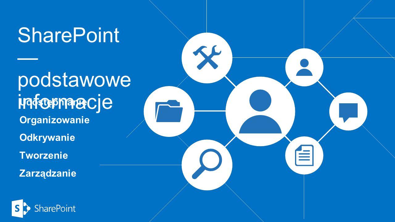 SharePoint — podstawowe informacje Udostępnianie Organizowanie Odkrywanie Tworzenie Zarządzanie