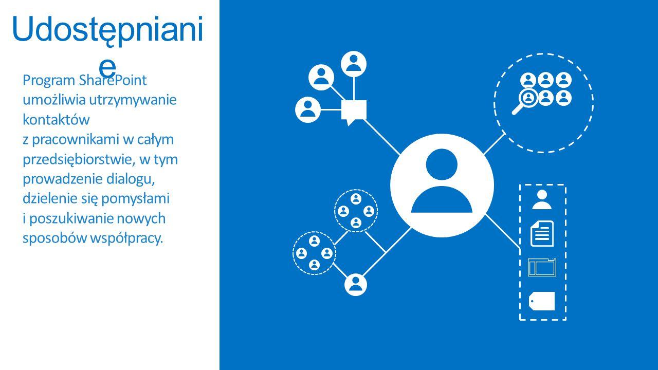 Program SharePoint ułatwia organizowanie informacji, kontaktów i projektów niezależnie od tego, czy pracujesz indywidualnie, czy w zespole.