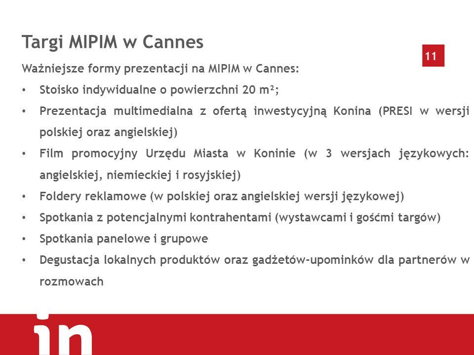 11 Targi MIPIM w Cannes Ważniejsze formy prezentacji na MIPIM w Cannes: Stoisko indywidualne o powierzchni 20 m²; Prezentacja multimedialna z ofertą inwestycyjną Konina (PRESI w wersji polskiej oraz angielskiej) Film promocyjny Urzędu Miasta w Koninie (w 3 wersjach językowych: angielskiej, niemieckiej i rosyjskiej) Foldery reklamowe (w polskiej oraz angielskiej wersji językowej) Spotkania z potencjalnymi kontrahentami (wystawcami i gośćmi targów) Spotkania panelowe i grupowe Degustacja lokalnych produktów oraz gadżetów-upominków dla partnerów w rozmowach