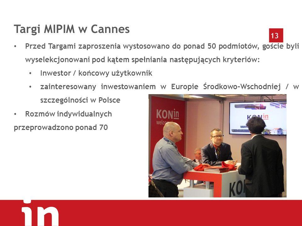 13 Targi MIPIM w Cannes Przed Targami zaproszenia wystosowano do ponad 50 podmiotów, goście byli wyselekcjonowani pod kątem spełniania następujących kryteriów: Inwestor / końcowy użytkownik zainteresowany inwestowaniem w Europie Środkowo-Wschodniej / w szczególności w Polsce Rozmów indywidualnych przeprowadzono ponad 70