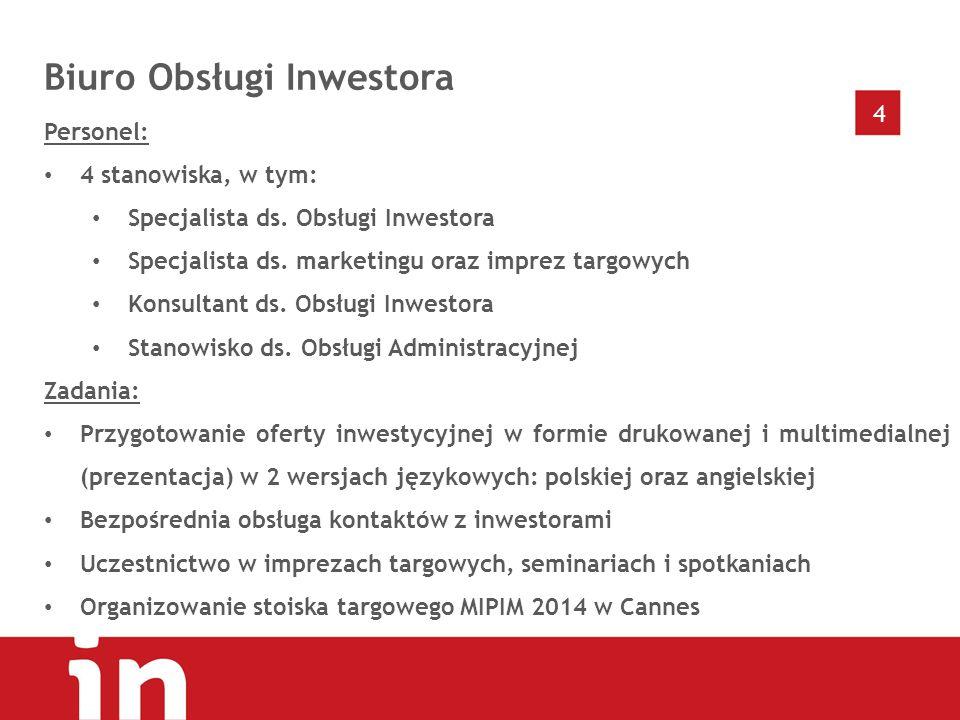 4 Biuro Obsługi Inwestora Personel: 4 stanowiska, w tym: Specjalista ds.
