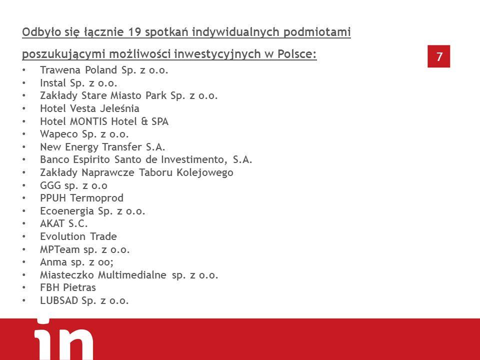 7 Odbyło się łącznie 19 spotkań indywidualnych podmiotami poszukującymi możliwości inwestycyjnych w Polsce: Trawena Poland Sp.