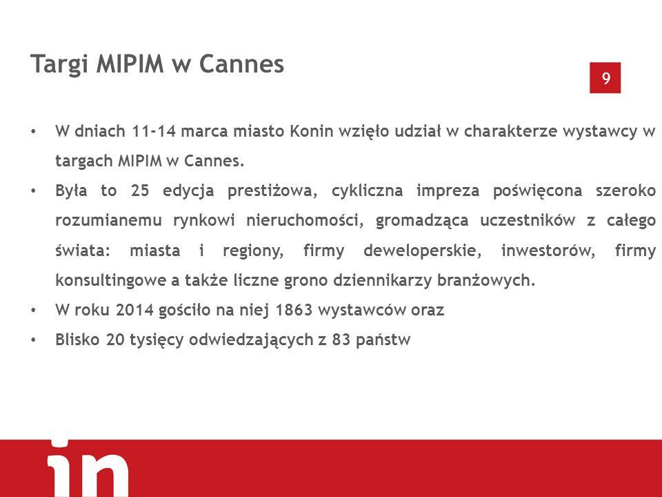 9 Targi MIPIM w Cannes W dniach 11-14 marca miasto Konin wzięło udział w charakterze wystawcy w targach MIPIM w Cannes.