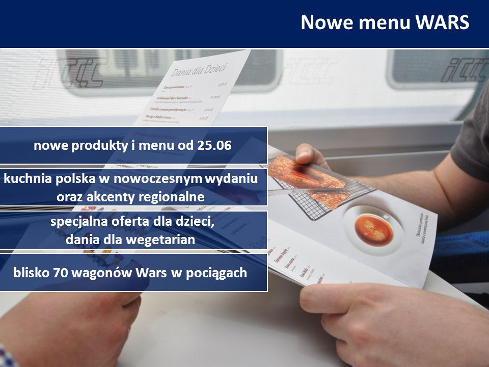 Nowe menu WARS nowe produkty i menu od 25.06 blisko 70 wagonów Wars w pociągach kuchnia polska w nowoczesnym wydaniu oraz akcenty regionalne specjalna oferta dla dzieci, dania dla wegetarian