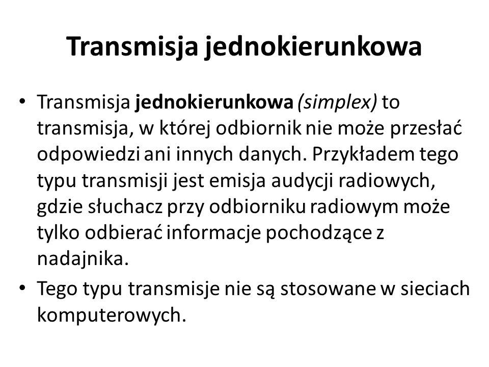 Transmisja jednokierunkowa Transmisja jednokierunkowa (simplex) to transmisja, w której odbiornik nie może przesłać odpowiedzi ani innych danych. Przy