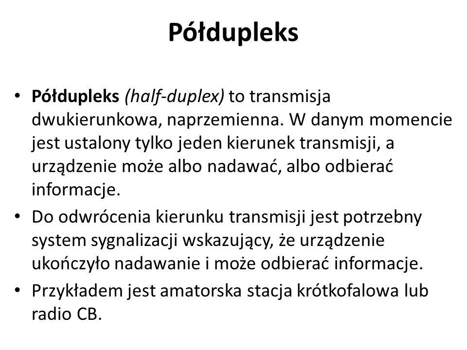 Półdupleks Półdupleks (half-duplex) to transmisja dwukierunkowa, naprzemienna. W danym momencie jest ustalony tylko jeden kierunek transmisji, a urząd