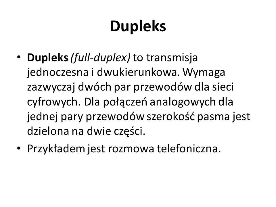 Dupleks Dupleks (full-duplex) to transmisja jednoczesna i dwukierunkowa. Wymaga zazwyczaj dwóch par przewodów dla sieci cyfrowych. Dla połączeń analog