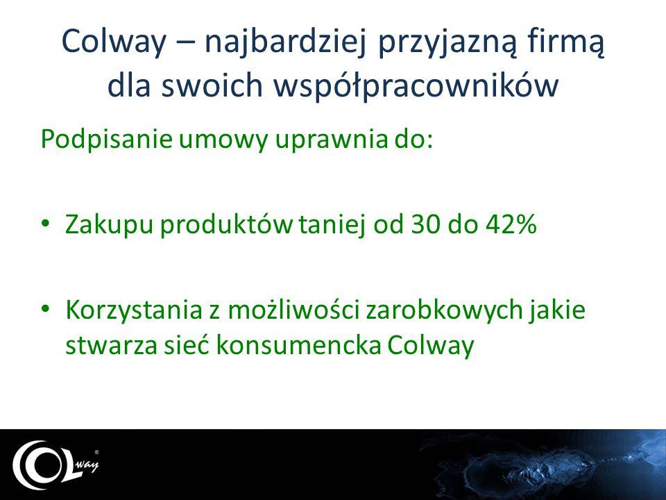 Colway – najbardziej przyjazną firmą dla swoich współpracowników Brak pakietów startowych Brak opłat inicjacyjnych Brak konieczności realizowania regularnych zamówień Niezmienność osiągniętego rabatu Wsparcie i szkolenia, tylko wówczas gdy ktoś chce z nich skorzystać