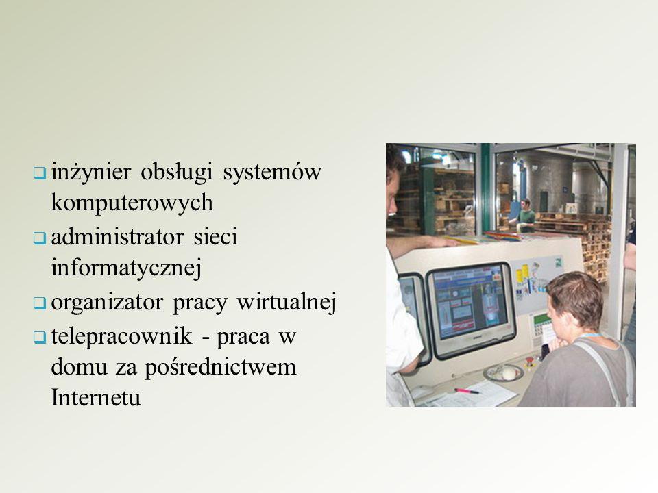  inżynier obsługi systemów komputerowych  administrator sieci informatycznej  organizator pracy wirtualnej  telepracownik - praca w domu za pośred