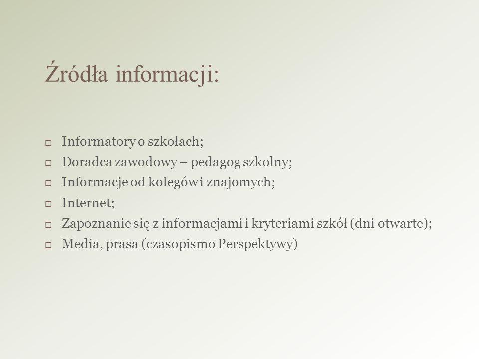 Informatory o szkołach;  Doradca zawodowy – pedagog szkolny;  Informacje od kolegów i znajomych;  Internet;  Zapoznanie się z informacjami i kryteriami szkół (dni otwarte);  Media, prasa (czasopismo Perspektywy) Źródła informacji: