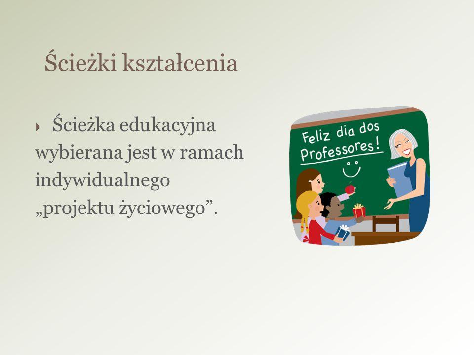 """ Ścieżka edukacyjna wybierana jest w ramach indywidualnego """"projektu życiowego"""". Ścieżki kształcenia"""