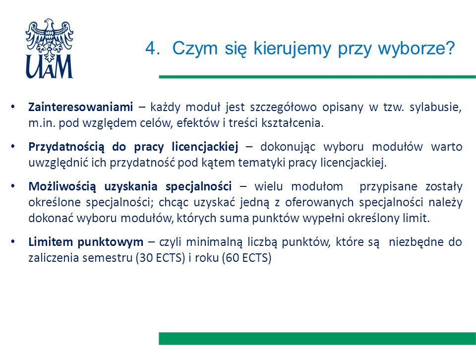 4.Czym się kierujemy przy wyborze.Zainteresowaniami – każdy moduł jest szczegółowo opisany w tzw.