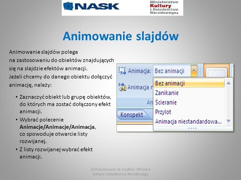 Animowanie slajdów Animowanie slajdów polega na zastosowaniu do obiektów znajdujących się na slajdzie efektów animacji.