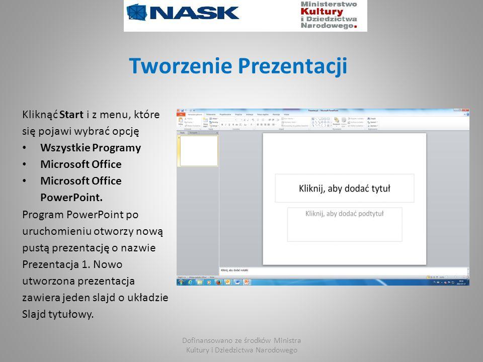Tworzenie Prezentacji Kliknąć Start i z menu, które się pojawi wybrać opcję Wszystkie Programy Microsoft Office Microsoft Office PowerPoint.