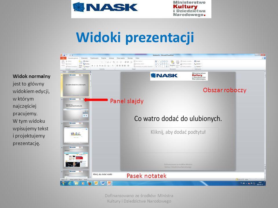 Widoki prezentacji Widok normalny jest to główny widokiem edycji, w którym najczęściej pracujemy.