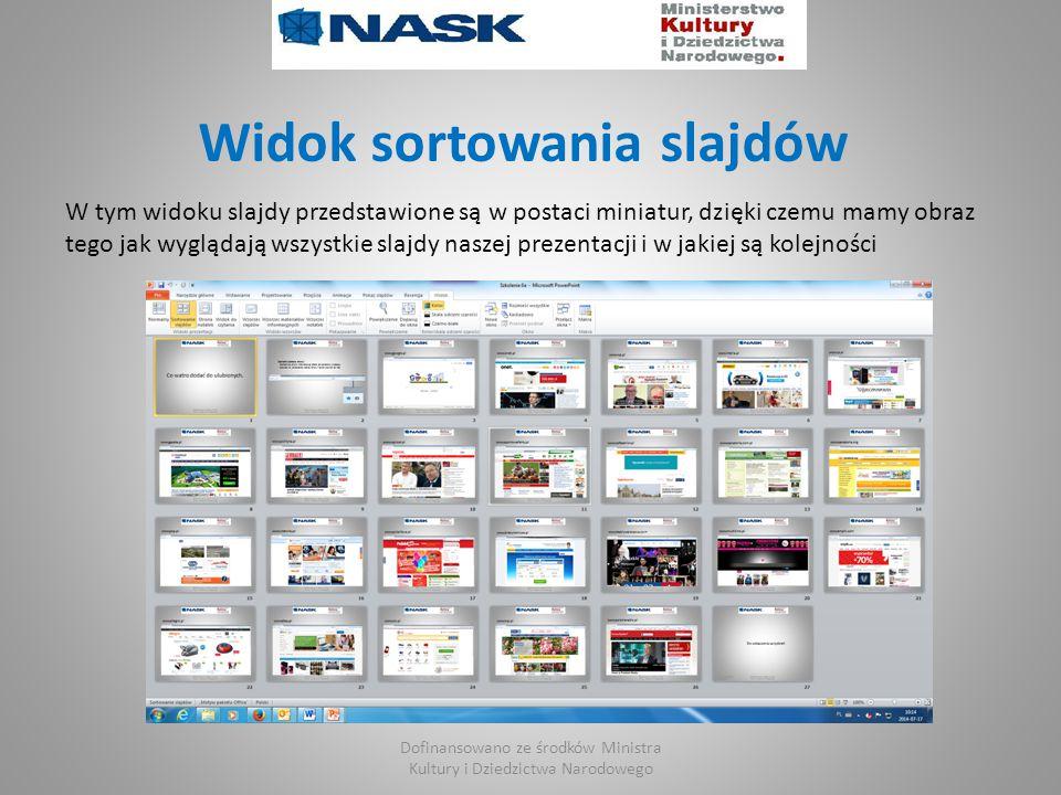 Widok sortowania slajdów W tym widoku slajdy przedstawione są w postaci miniatur, dzięki czemu mamy obraz tego jak wyglądają wszystkie slajdy naszej prezentacji i w jakiej są kolejności Dofinansowano ze środków Ministra Kultury i Dziedzictwa Narodowego